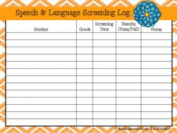 Speech and Language Screening Logs