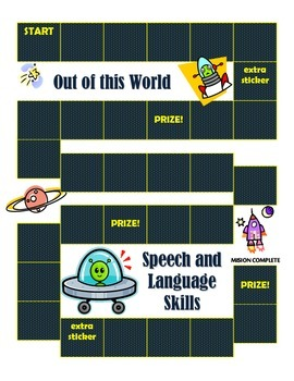 Speech and Language Sticker Chart-Theme 6 Out of this Worl