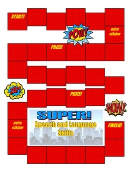 Speech and Language Sticker Chart-Theme 7 Superhero