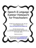 PK Speech and Language Summer Homework Packet