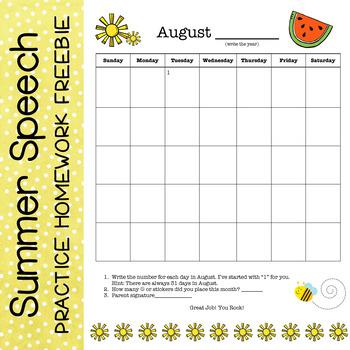 Speech and Language Summer Program Interactive Calendar