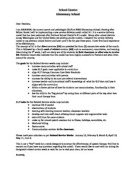 Speech and Language Therapy 3:1 Service Delivery Model Teacher Letter