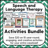 Speech and Language Therapy Activities Bundle for Elementary School