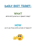 Speech and Language Therapy Exit Ticket