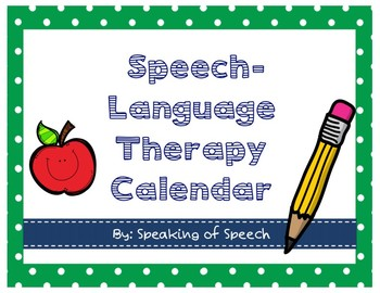 Speech and Language Therapy Room Decor Calendar