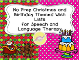No Prep Christmas and Birthday Themed Wish Lists for Speech and Language Therapy
