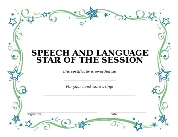 Speech and Language star of the session certificate