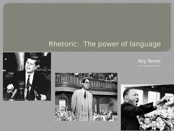 Speech and Rhetoric Vocabulary Terms PowerPoint