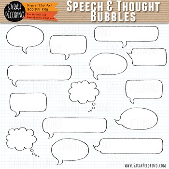 Speech and Thought Bubbles Clip Art {FREE}