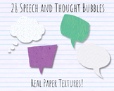 Speech Bubbles and Thought Bubbles Clip Art - Real Paper Textures