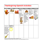 Speech and language calendar for Thanksgiving Break