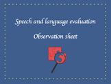 Speech and language observation sheet