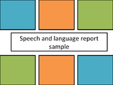 Speech and language sample report template