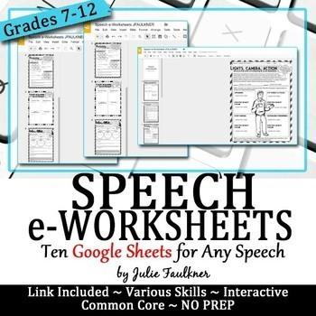 Speech eWorksheets, Digital Graphic Organizers, Google Drive