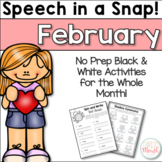 Speech in a Snap February: No Prep Activities for the Enti