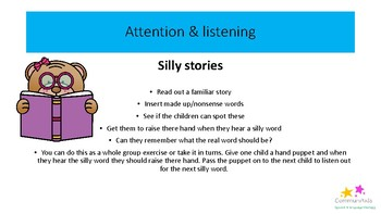 Speech & language activity ideas for EYFS pack 2