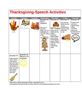 Speech language calendar for Winter vacation