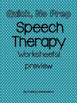 Speech, no prep Freebie!