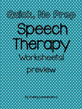Speech, No Prep~ Freebie!