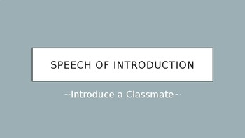 Speech of Introduction Powerpoint