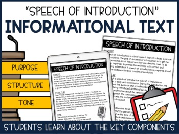 Speech of Introduction- Practice Speaking from Notecards- Student Introductions