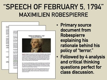 Speech on the Use of Terror - Maximilien Robespierre - Global/World History