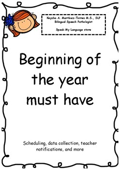 Speech therapy Beginning of the year must have