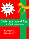 """Speech therapy Christmas word find """"S"""" All positions"""