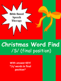 """Speech therapy Christmas word find """"S"""" Final position"""