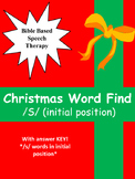 """Speech therapy Christmas word find """"S"""" Initial position"""
