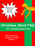 """Speech therapy Christmas word find """"S"""" Medial position"""