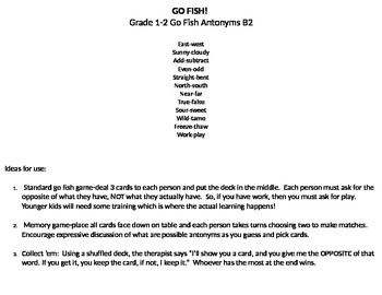 Language Go Fish for antonyms grades 1-3