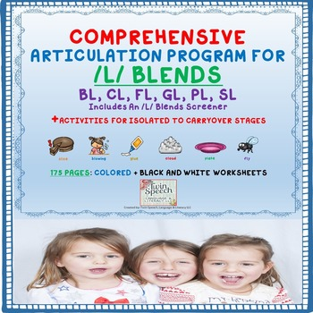 Speech Therapy Comprehensive /L/ Blends Articulation Unit: