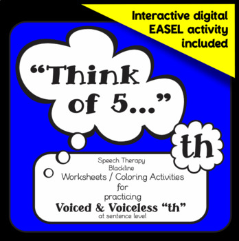 "Speech therapy – Voiced / Voiceless 'th' sentence level: ""Think of 5..."" (B&W)"