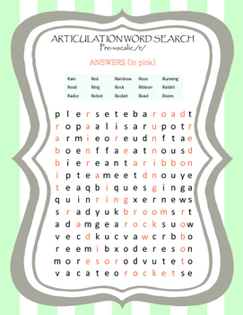 Speech therapy activity & homework: Articulation word search s blends & r