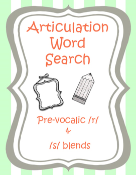 Speech therapy activity & homework: Articulation word sear