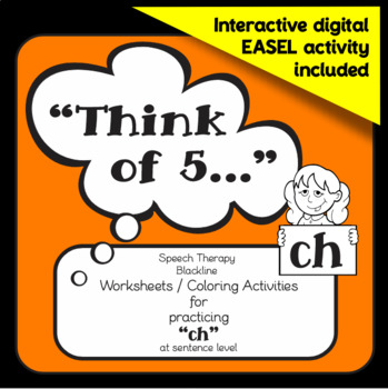 "Speech therapy - 'ch' sentence level practice: ""Think of 5..."" (Black & White)"