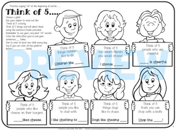 """Speech therapy - 'ch' sentence level practice: """"Think of 5..."""" (Black & White)"""