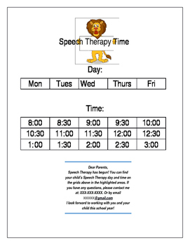 Speech therapy day/time chart for parents