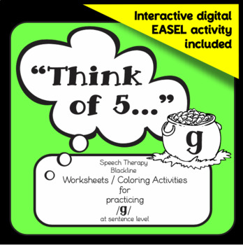 """Speech therapy - /g/ sentence level practice: """"Think of 5..."""" (Black & White)"""
