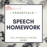 Speech therapy homework sheet