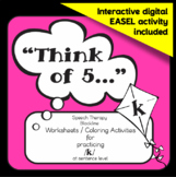 """Speech therapy - /k/ sentence level practice: """"Think of 5..."""" (Black & White)"""