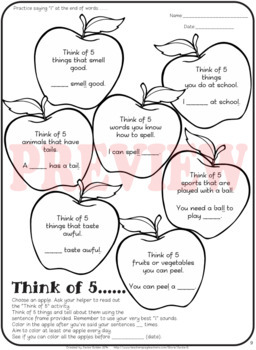 """Speech therapy - /l/ sentence level practice: """"Think of 5..."""" (Black & White)"""