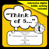 "Speech therapy - /l/ sentence level practice: ""Think of 5..."" (Black & White)"