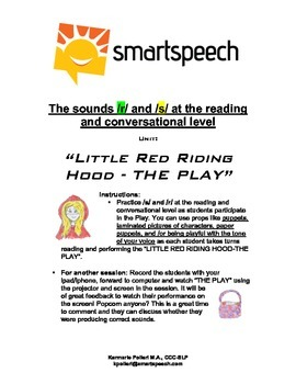 Speech therapy: /r/ and /s/: Little Red Riding Hood-The Play