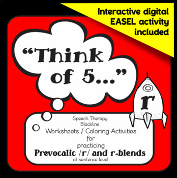 """Speech therapy – /r/ & /r/ blends sentence level practice: """"Think of 5..."""" (B&W)"""