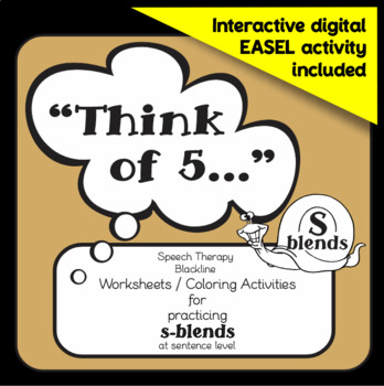 """Speech therapy – /s/ blends sentence level practice: """"Think of 5..."""" (B&W)"""