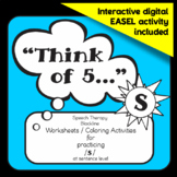 """Speech therapy - /s/ sentence level practice: """"Think of 5..."""" (Black & White)"""