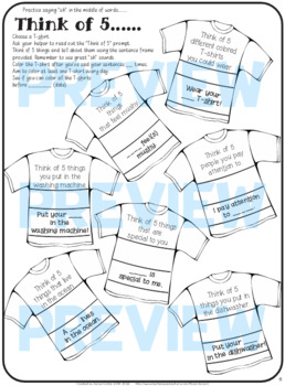 """Speech therapy - 'sh' sentence level practice: """"Think of 5..."""" (Black & White)"""
