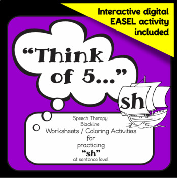 "Speech therapy - 'sh' sentence level practice: ""Think of 5..."" (Black & White)"